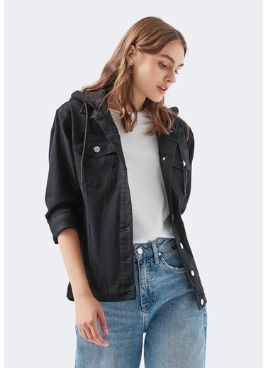 Mavi Karla  Jean Ceket Siyah